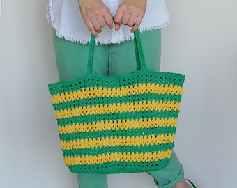 Green Yellow Striped Bag, Crochet String Bag, Mesh Market Bag, Carnival Style Shoulder Bag, Reusable Shopping Bag, Beach Bag, Sports Bag