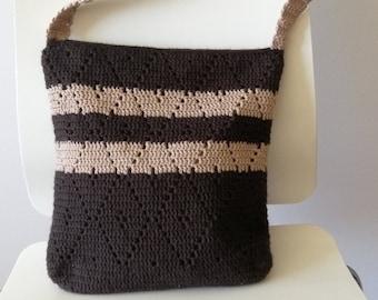 Crochet Tote Bag, Diamond Pattern Bag, Shoulder Bag, Diamond Design Bag, Bohemian Bag, Market Bag, Boho, Hobo,Retro Style,Beige,Brown