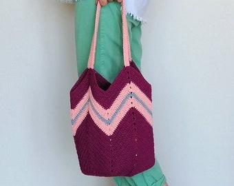 Chevron Bag, Ruby Bag, Crochet Handbag, Shoulder Bag, Tote Bag, Stripes Bag, Market Bag, Beach Bag, Reusable Bag, Cotton Macrame, Boho Bag