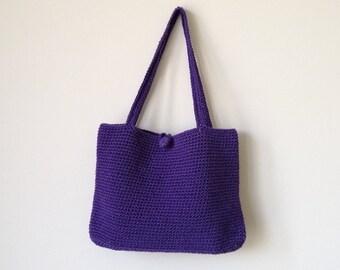 Crochet Handbag, Purple Handbag, Tote Bag, Cotton Bag,Beach Bag, Crochet Macrame Bag, Shoulder Bag, Market Bag,Mama Bag, Shopping Bag