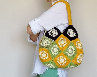 Granny Square Bag, Tote Bag, Granny Square Crochet Bag, Fully Lined Bag, Crochet Purse, Boho Bag, City Bag, Casual Shoulder Bag, Handbag