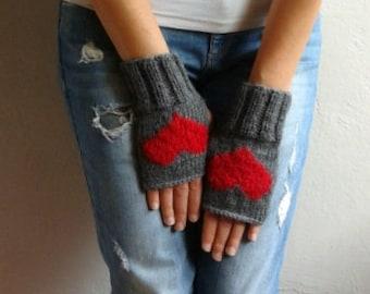 Fingerless Gloves with Hearts, Gray Gloves, Heart Gloves Valentine's Gift