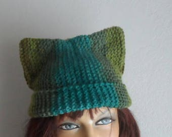 Cat Beanie, Cat Hat, Kitty Cat Hat, Blended Green Cat Beanie, Meow Beanie, Winter Accessories, Outdoors Gift, Winter Hat, Gift under 25