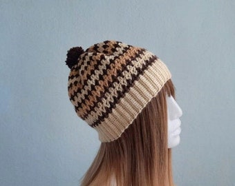 Striped Beanie, Winter Hat for Woman, Pompom Hat, Cute Beanie, Cozy Winter Hat, Striped Hat, Hipster Hat