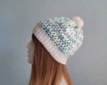 Woman Beanie with Pompom, Slouchy Crochet Hat, Winter Hat, Crochet Winter Hat, Teen Beanie