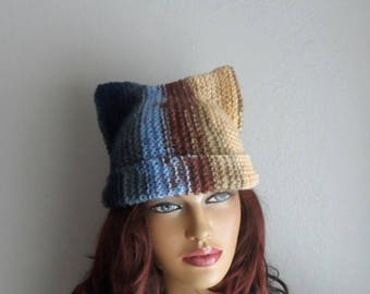Knit Cat Hat, Cat Ears Beanie, Cat Beanie, Chunky Knit, Kitty Cat Hat, Pussyhat, Pussy Cat Hat