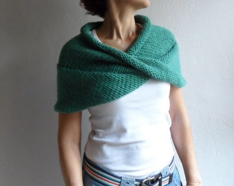 c62f30bc9a Hand Knitted Chunky Wool Scarf Hoodie in Jade Green