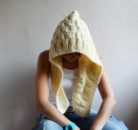 Stricken Sie Kapuze Kapuzen-Schal Chunky Wolle Haube Kutte | Etsy