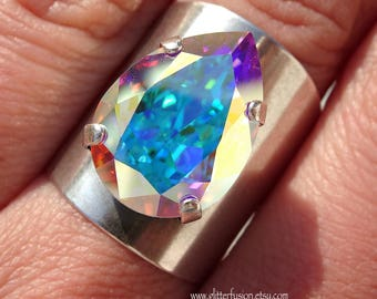 AAA* rated Crystal Other Colours Available Myriad Statement Ring in AB Aurora Borealis Shiny Silver Finish Adjustable Large