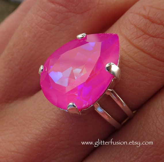 615596d2f Ultra Pink AB Swarovski Crystal Pear Shaped Statement Ring | Etsy