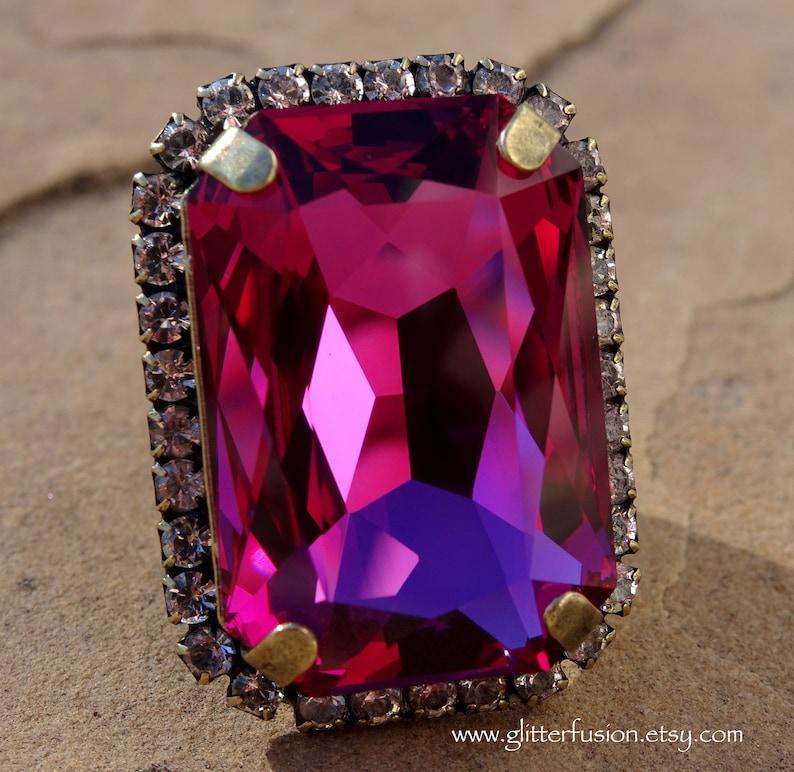 c2eeb881c Huge Fuchsia Swarovski Crystal Rectangular Statement Ring Big | Etsy