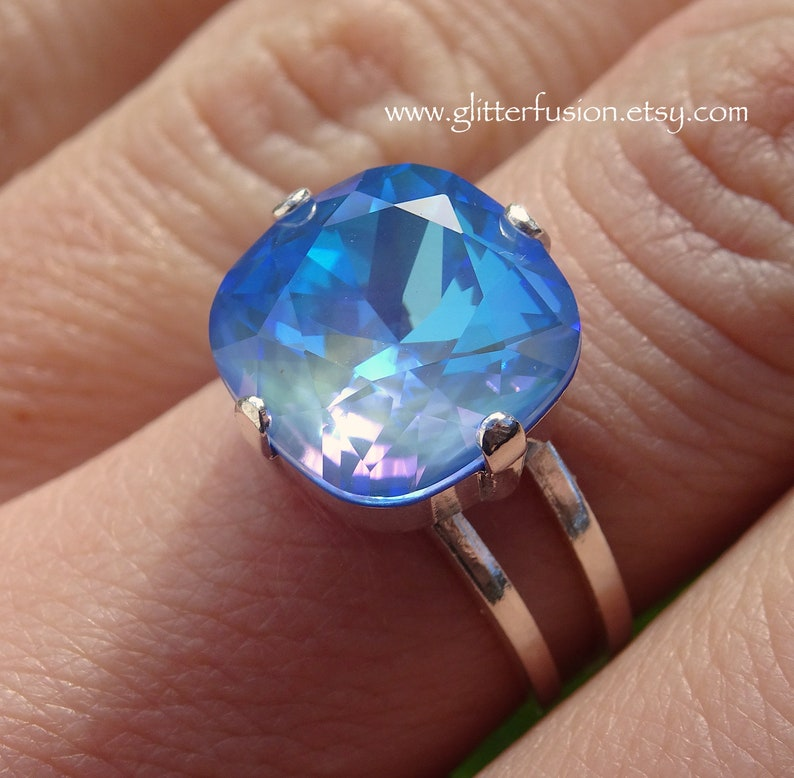 016c352648406d Ocean DeLite Swarovski Cushion Cut Crystal Statement Ring