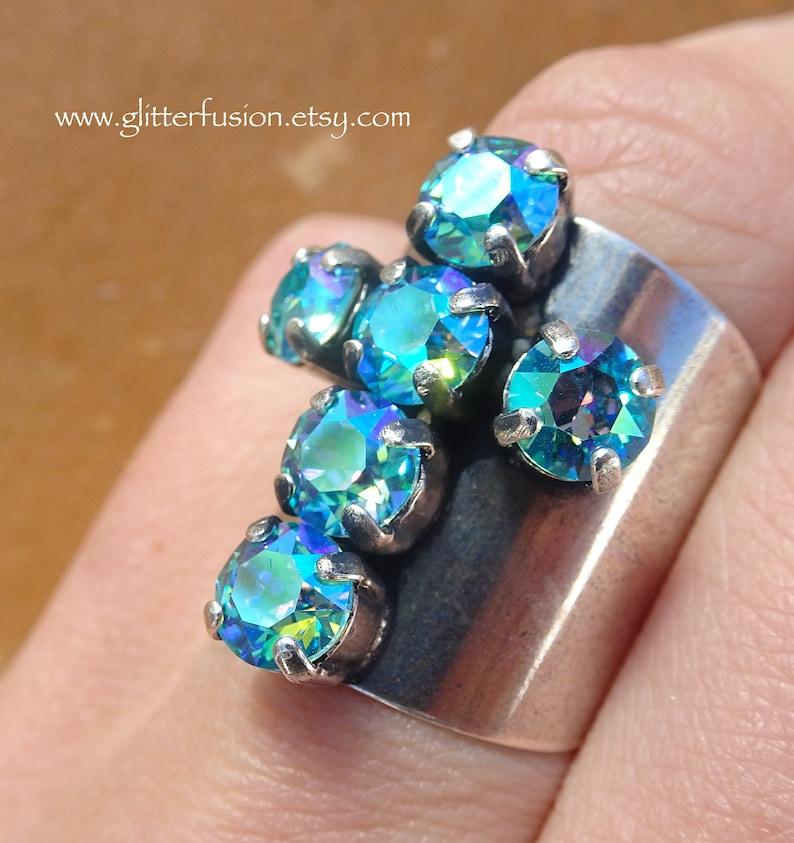 5426e45c0 Light Turquoise Glacier Blue Swarovski Crystal Cross Statement   Etsy