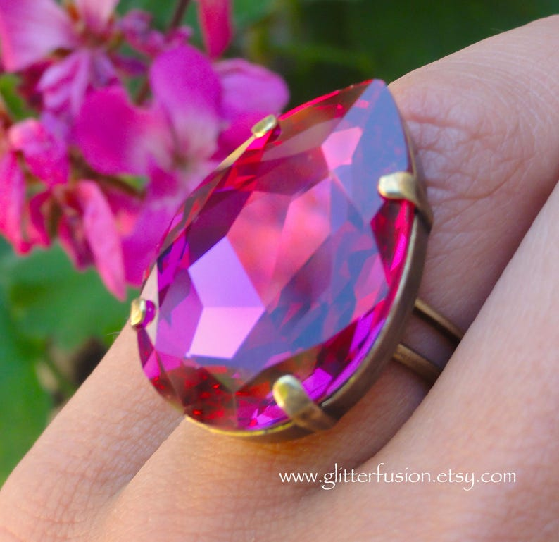 62fc42a4f Fuchsia Crystal Ring Huge Hot Pink Teardrop Swarovski Crystal | Etsy