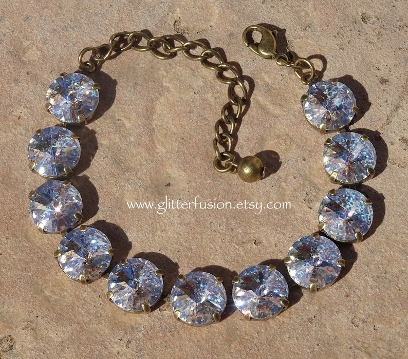 0ba3486e9e0c White Patina Swarovski Crystal Antique Brass Bracelet Clear