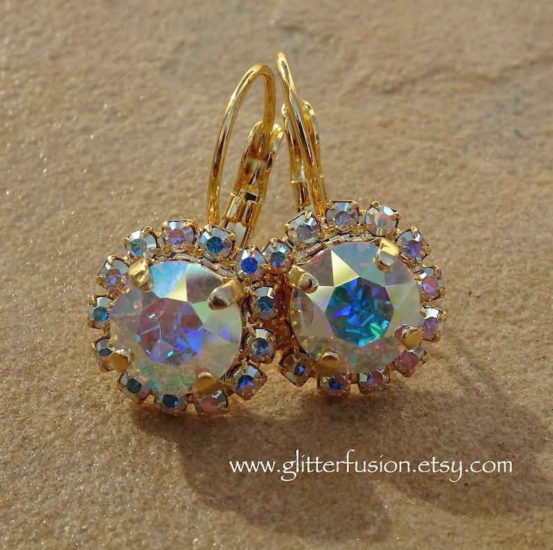 82fe31c90 Aurora Borealis Swarovski Crystal Gold Halo Lever Back   Etsy
