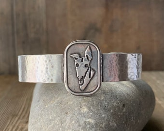What's Up? - Greyhound Cuff Bracelet - Sterling Silver - Custom - Ready to Ship