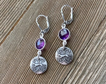 Vintage Running Amethyst Dangle Greyhound Earrings - Small - Fine & Sterling Silver - Leverback -  Made to Order