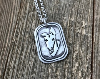 What's Up? - Greyhound Medium Large Pendant - Sterling Silver - Necklace Charm - Heavy Thick Chain - Ready to Ship