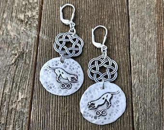 Take a Bow Greyhound Celtic Knot Earrings - Infinite Love Infinity Series Large Fine & Sterling Silver Leverback Lever Back - Ready to Ship
