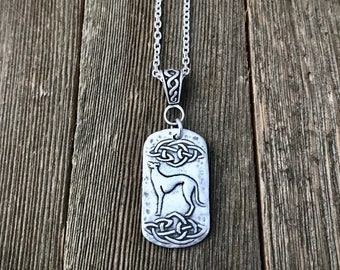 Celtic Cosmo Greyhound Pendant Necklace - Large - Fine & Sterling Silver - Thick Heavy Gauge Cable Chain - Ready to Ship