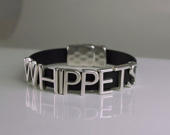 Whippets Leather Bracelet Snap Magnetic Closure Choice of Color - Custom