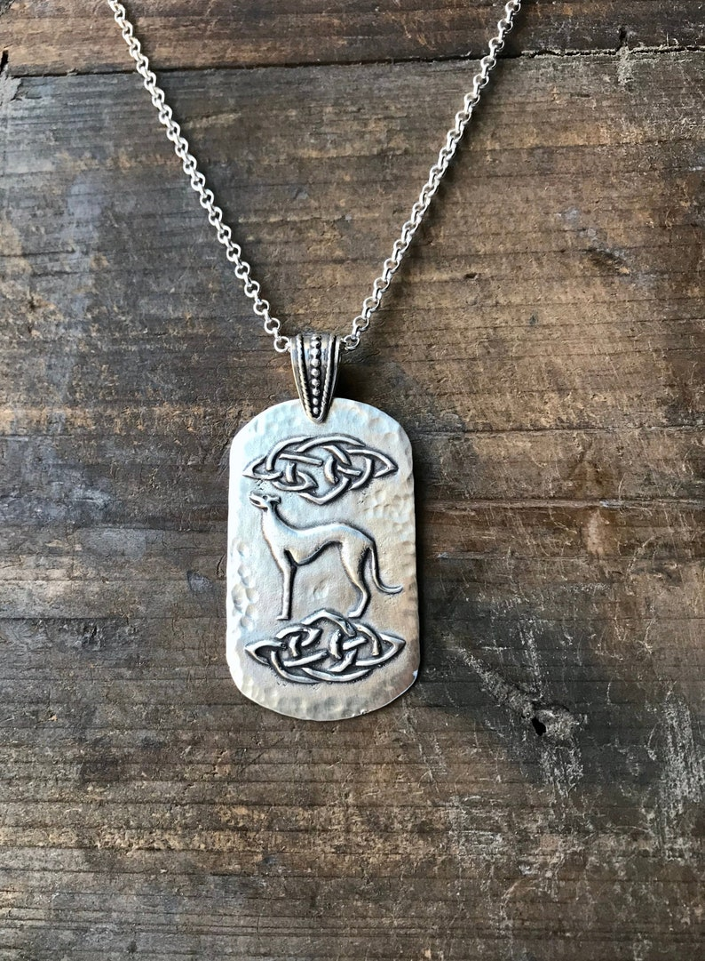 Celtic Cosmo Greyhound Pendant Necklace - Extra Large - Fine & Sterling  Silver - Made to Order