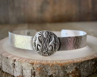 Greyhounds Crest - Cuff Bracelet - Two Greyhounds Celtic Knot Victorian Antique Vintage - Sterling Silver - Ready to Ship