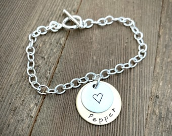 Custom Personalized Larger 2 Disc Mixed Metal Handstamped Charm on Sterling Silver Bracelet - Made to Order
