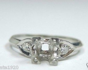 17d91da02 Antique Vintage Art Deco Platinum Engagement Ring Setting | Will Hold-5MM |  ES-199