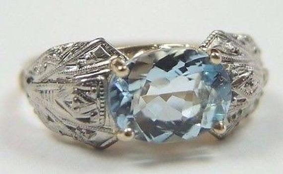 Antique Vintage Aquamarine Engagement Ring 18K Two