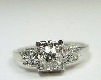 Antique Art Deco European Diamond Platinum Engagement Ring | RE- 943