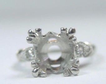 Antique Vintage Art Deco Platinum Engagement Ring Setting Mounting | Will Hold 7 MM - 7.5 MM Fine | ES-244