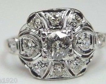Antique European Diamond Platinum Engagement Ring | RE ~ 872