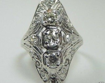 Antique European Diamond White Gold Engagement Ring | RE-863