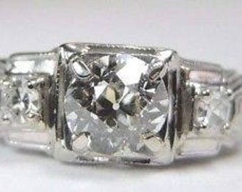 Antique Deco Vintage Diamond White Gold Engagement Ring | RE-988