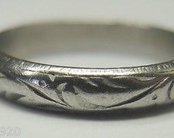 Antique Platinum Wedding Band | PWB-11