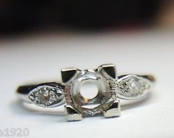 Antique Platinum Engagement Ring Setting | Will Hold 5MM | ES-197