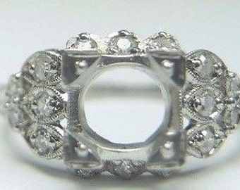 Antique Art Deco Platinum Diamond Engagement Ring Setting Mounting Mount Ring Size 5.25 UK-K | Will Hold 6-6.5MM | ES-240