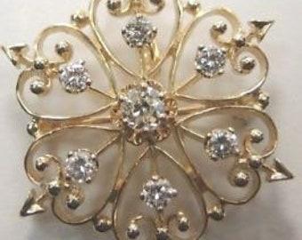 Antique Art Deco Vintage Diamond Pin Pendant 14K Yellow Gold
