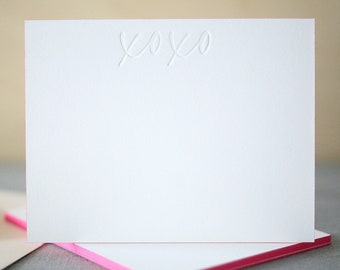 Letterpress Stationery | XOXO Notecards | Edge Painted Letterpress Thank You Notes | Wedding Thank You Notes