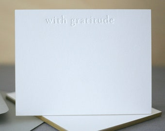 Letterpress Stationery | With Gratitude | Edge Painted Letterpress Thank You Notes | Wedding Thank You Notes