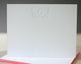 Letterpress Edge Painted Notecards - Laurel Monogram Custom Stationery, Personalized Stationery, Letterpress Notes