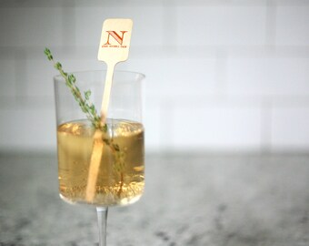 Wood Stir Sticks - Personalized drink stirs, Foil Stamped drink stirs