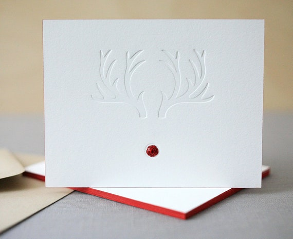 Letterpress Christmas Cards Red Nosed Holiday Cards Fast Etsy