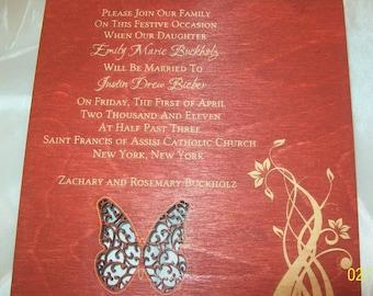 Wood Laser Engraved Wedding Invitations