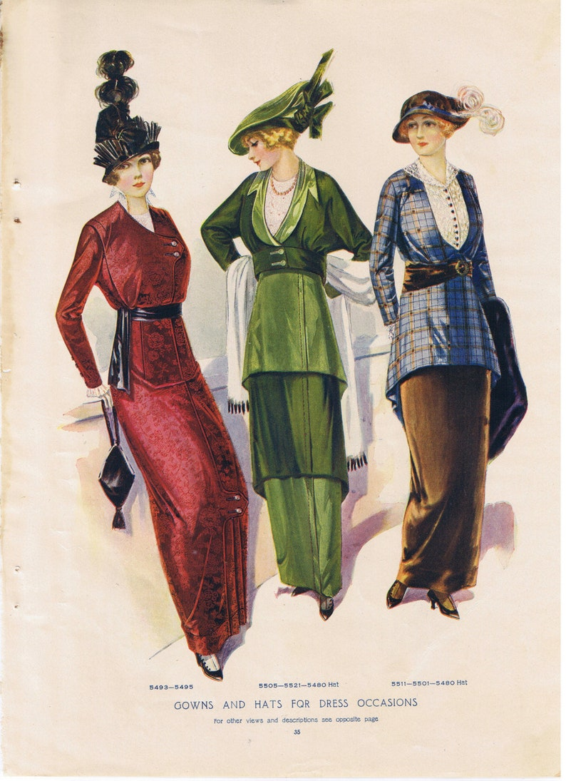 a97b18bfe9e 1912 Gowns and Hats for Dress Occasions Vintage McCalls