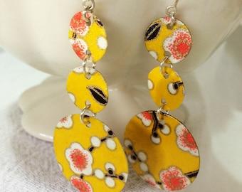 Yellow Cherry Blossom Triple Earrings