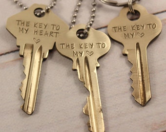 Key To My Heart Necklace - Hand Stamped Vintage Key - Recycled - Recycled Boho Jewelry