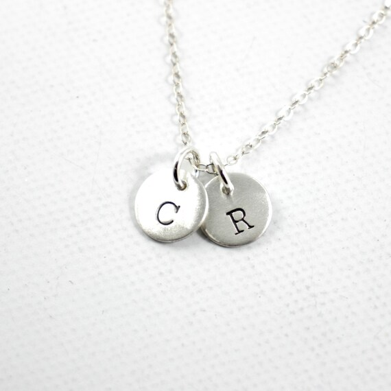 TWO Charm Petite Sterling Silver Personalized Initial Charm Necklace Hand stamped